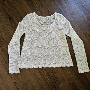 Decree Off White Floral Lace Long Sleeve Top